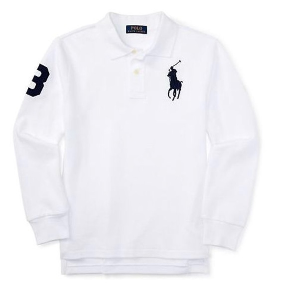 ae8dacad43 Polo Ralph Lauren White Big Pony Long Sleeve Polo